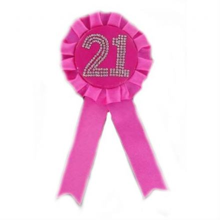 Rosette 21 Badge in Hot Pink